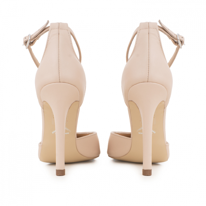 Pantofi din piele naturala, nude rose, cu varf ascutit si decupaj interior si exterior. 4
