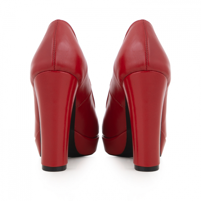 Pantofi din piele naturala rosie, cu toc gros si platforma. 4