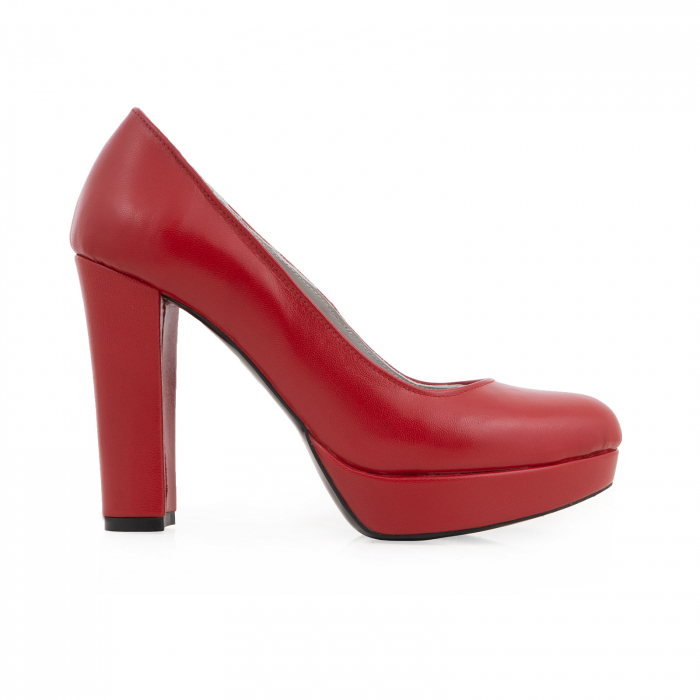 Pantofi din piele naturala rosie, cu toc gros si platforma. 0