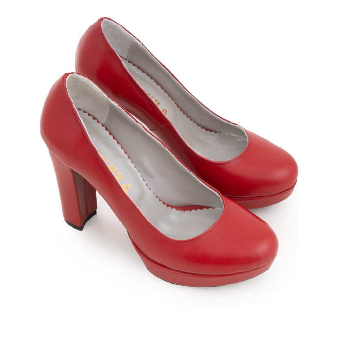 Pantofi din piele naturala rosie, cu toc gros si platforma. 1