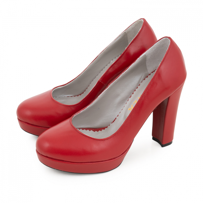 Pantofi din piele naturala rosie, cu toc gros si platforma. 2