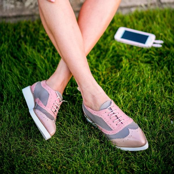 Pantofi din piele roz si cafenie 0