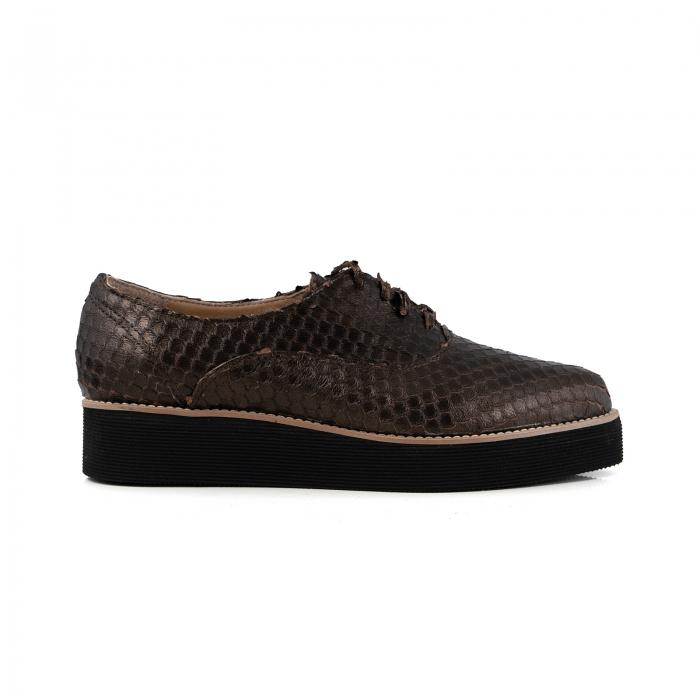 Pantofi oxford cu varf ascutit, din piele bronz metalizat cu aspect tip solzi 0