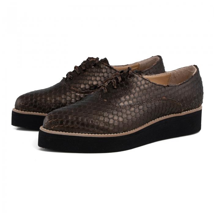 Pantofi oxford cu varf ascutit, din piele bronz metalizat cu aspect tip solzi 1