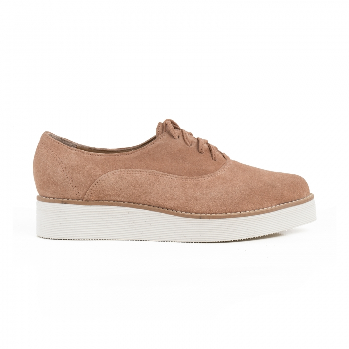 Pantofi oxford cu varf ascutit, din piele intoarsa roz somon [0]