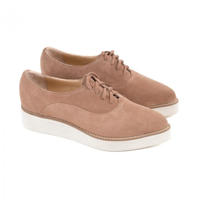 Pantofi oxford cu varf ascutit, din piele intoarsa roz somon [1]