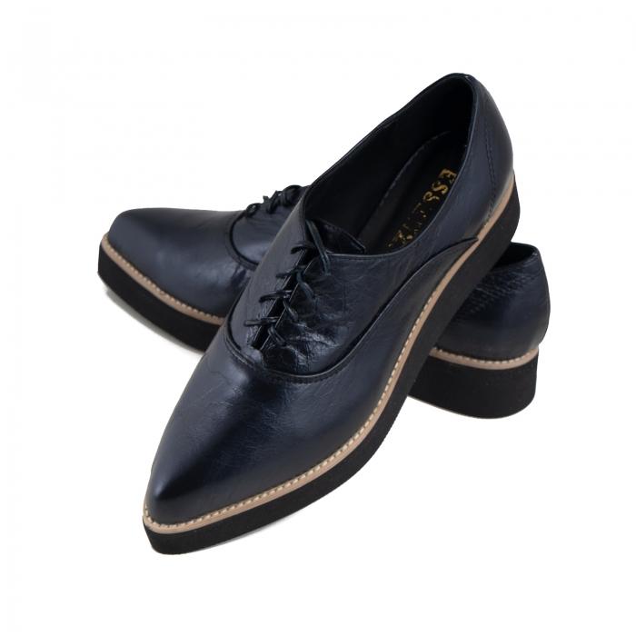 Pantofi oxford cu varf ascutit, din piele laminata, albastru inchis 3
