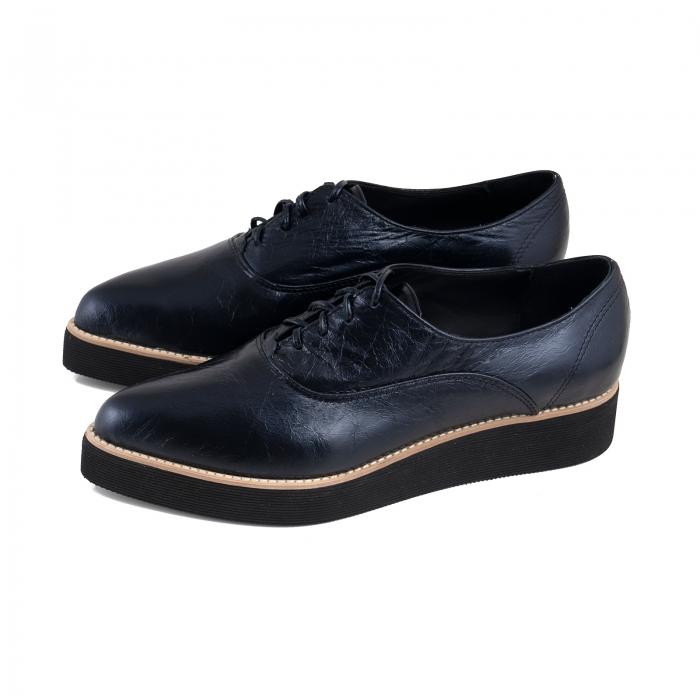 Pantofi oxford cu varf ascutit, din piele laminata, albastru inchis 1