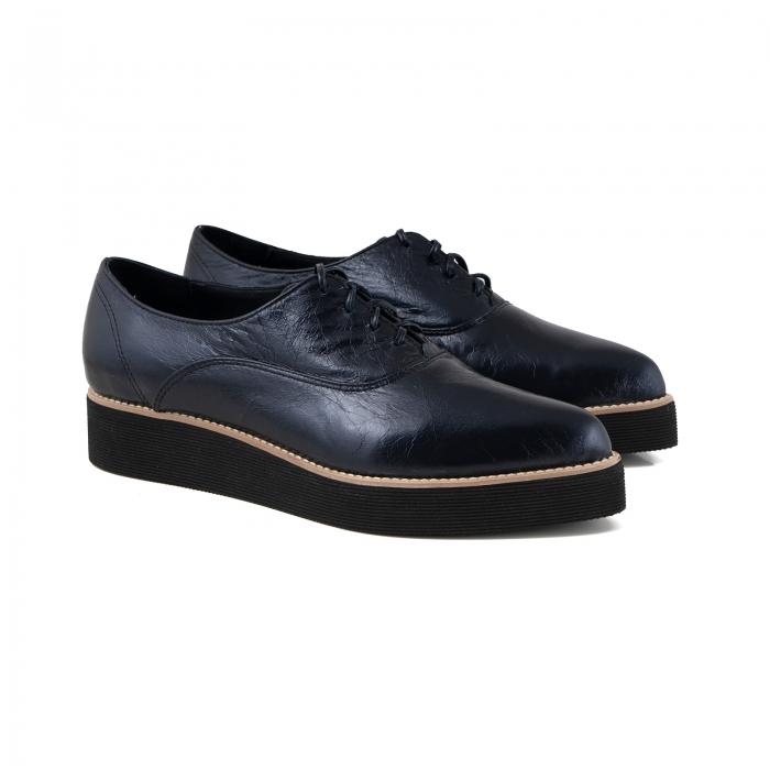 Pantofi oxford cu varf ascutit, din piele laminata, albastru inchis 2