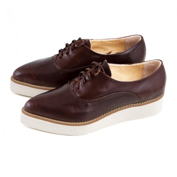 Pantofi oxford cu varf ascutit, din piele naturala maron 1