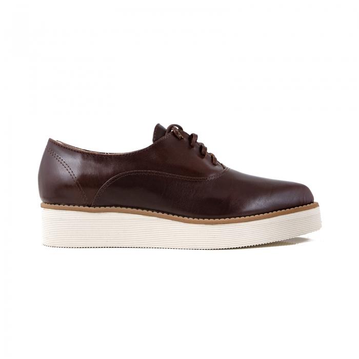 Pantofi oxford cu varf ascutit, din piele naturala maron 0