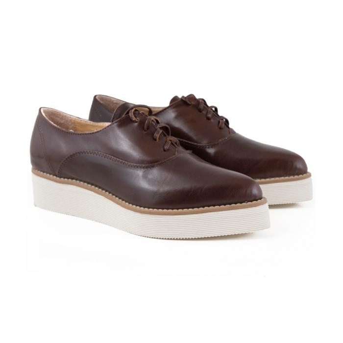 Pantofi oxford cu varf ascutit, din piele naturala maron 2