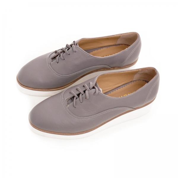 Pantofi oxford, din piele cafeniu deschis 2