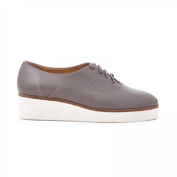 Pantofi oxford, din piele cafeniu deschis 0