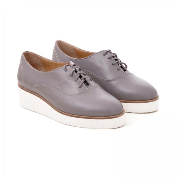 Pantofi oxford, din piele cafeniu deschis 1