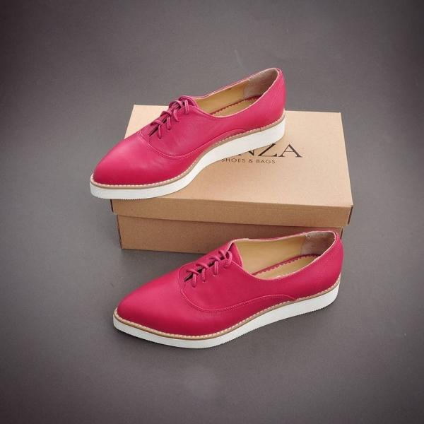 Pantofi oxford, din piele ciclam 0