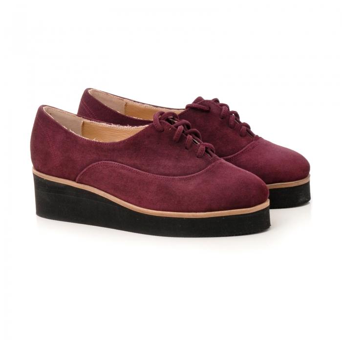 Pantofi oxford, din piele intoarsa mov [1]