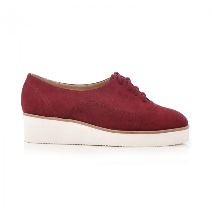 Pantofi oxford, din piele intoarsa visinie 0