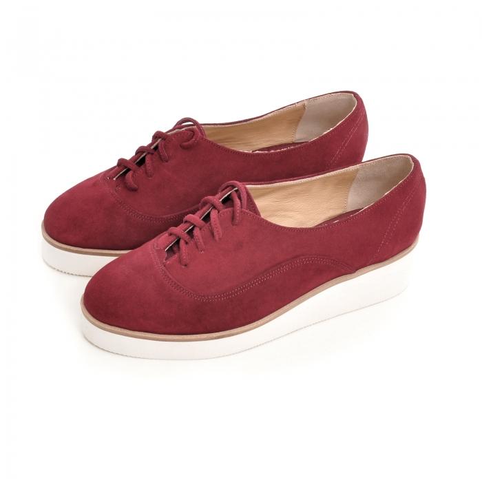 Pantofi oxford, din piele intoarsa visinie [2]