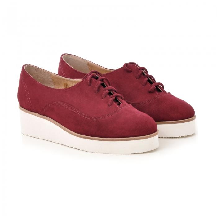 Pantofi oxford, din piele intoarsa visinie 1