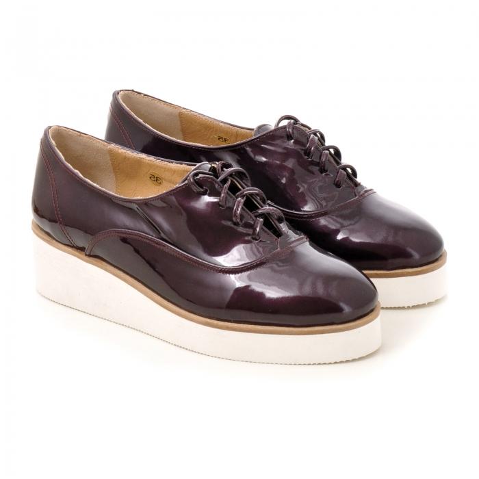 Pantofi oxford, din piele lacuita mov 2
