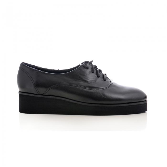 Pantofi oxford, din piele naturala neagra 0