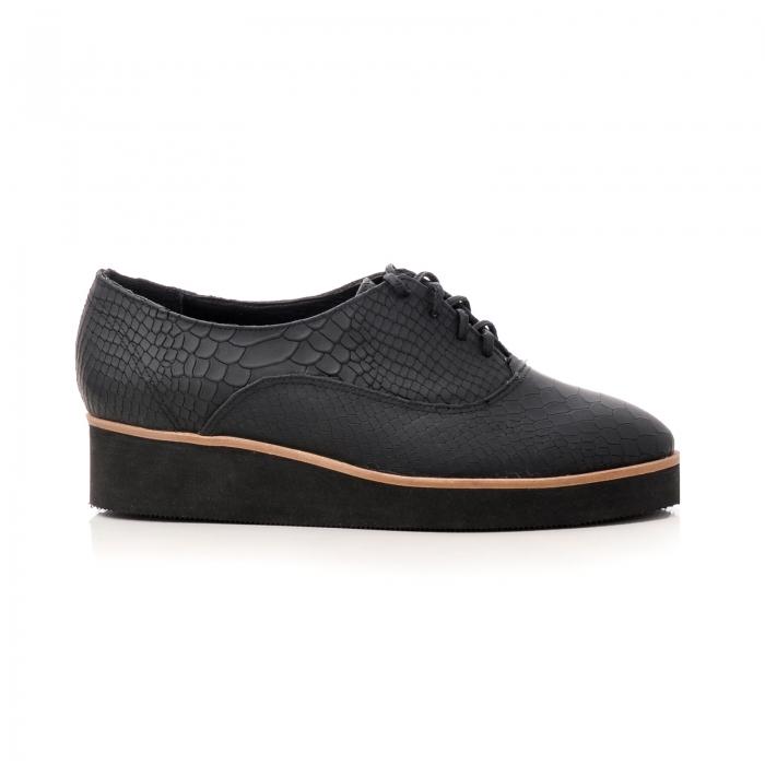 Pantofi oxford, din piele naturala neagra cu textura tip sarpe 0