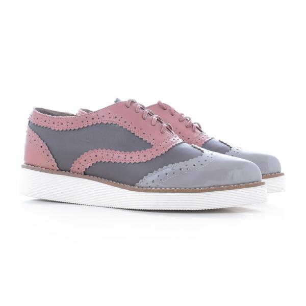 Pantofi oxford, din piele si piele lacuita in nuante de roz pal si gri 3
