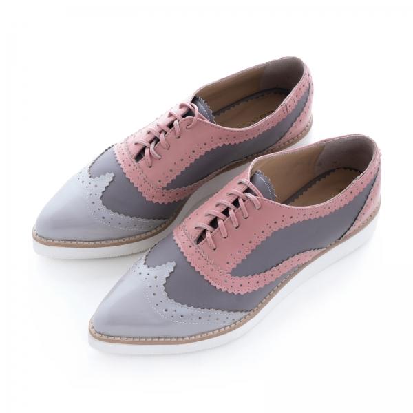 Pantofi oxford, din piele si piele lacuita in nuante de roz pal si gri 1