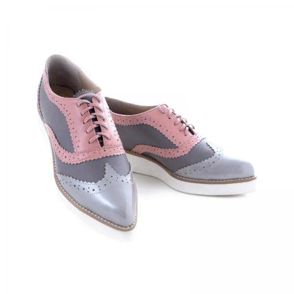 Pantofi oxford, din piele si piele lacuita in nuante de roz pal si gri 2