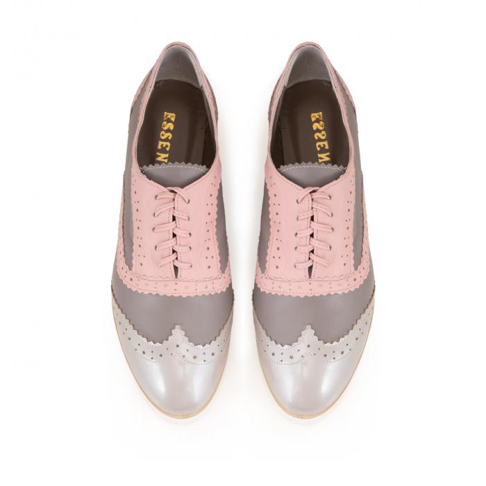 Pantofi oxford,din piele si piele lacuita in nuante de roz pal si gri [3]