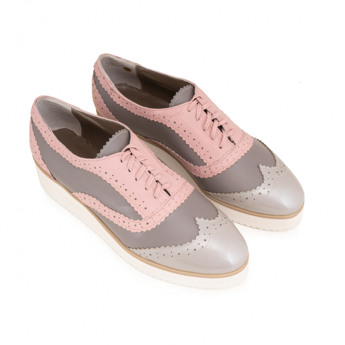 Pantofi oxford,din piele si piele lacuita in nuante de roz pal si gri [2]