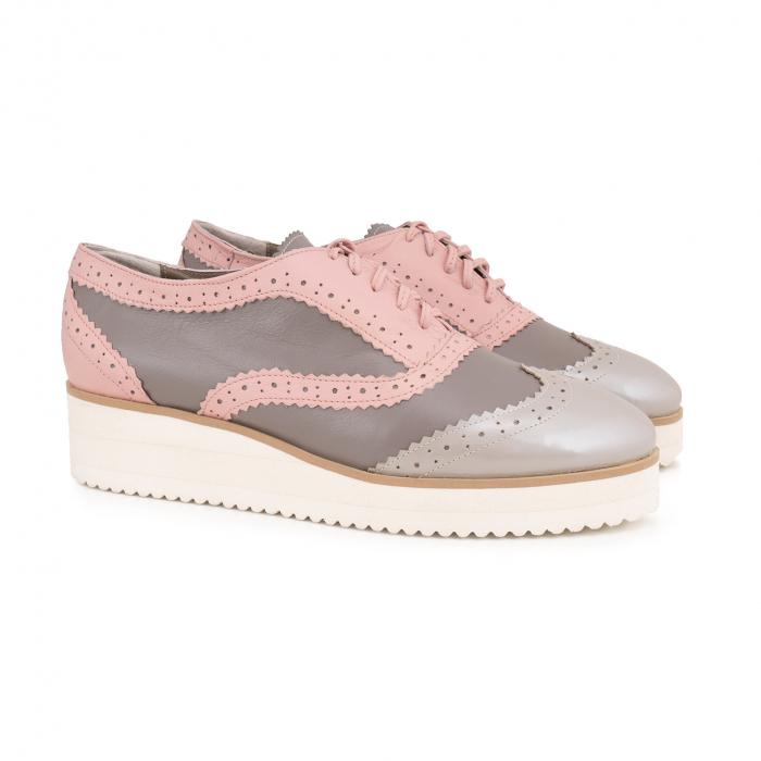 Pantofi oxford,din piele si piele lacuita in nuante de roz pal si gri [1]
