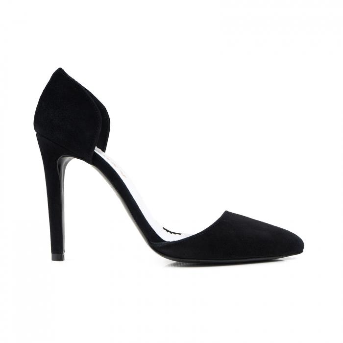 Pantofi Stileto decupati (interior/exterior ), din piele intoarsa neagra 0