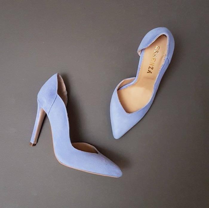Pantofi stiletto cu decupaj interior, din piele intoarsa albastra 1