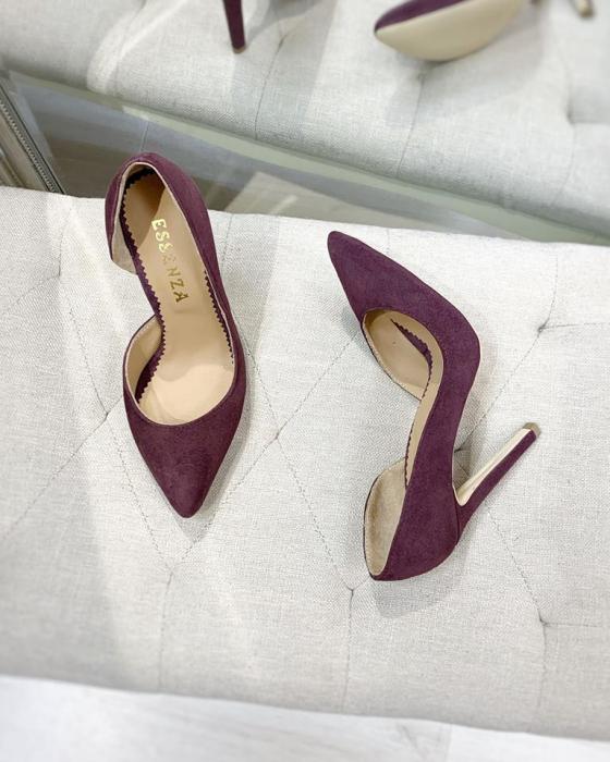 Pantofi stiletto, cu decupaj interior, din piele naturala intoarsa mov pruna 1