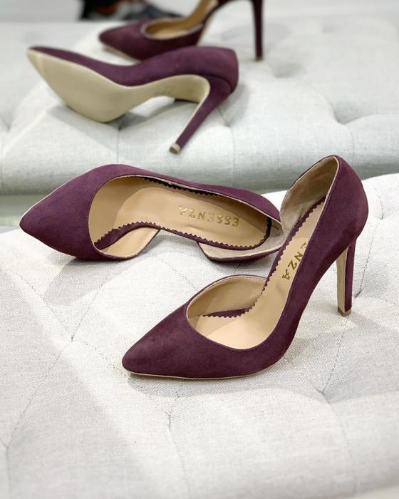 Pantofi stiletto, cu decupaj interior, din piele naturala intoarsa mov pruna 0