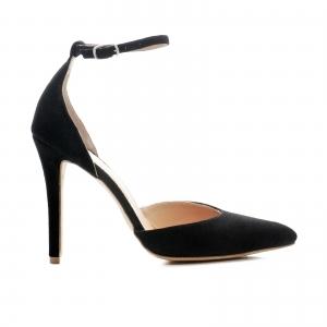 Pantofi stiletto cu decupaj interior si exterior. din piele intoarsa neagra 0