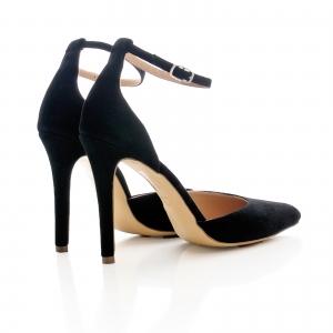 Pantofi stiletto cu decupaj interior si exterior. din piele intoarsa neagra 2