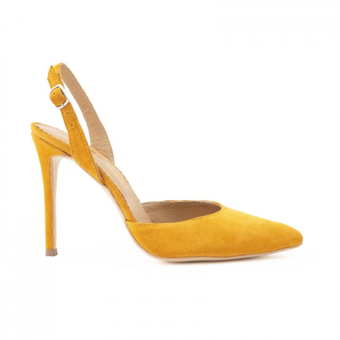 Pantofi stiletto decupati cu bareta de sustinere la calcai. Realizati dinpiele intoarsa galbena 0