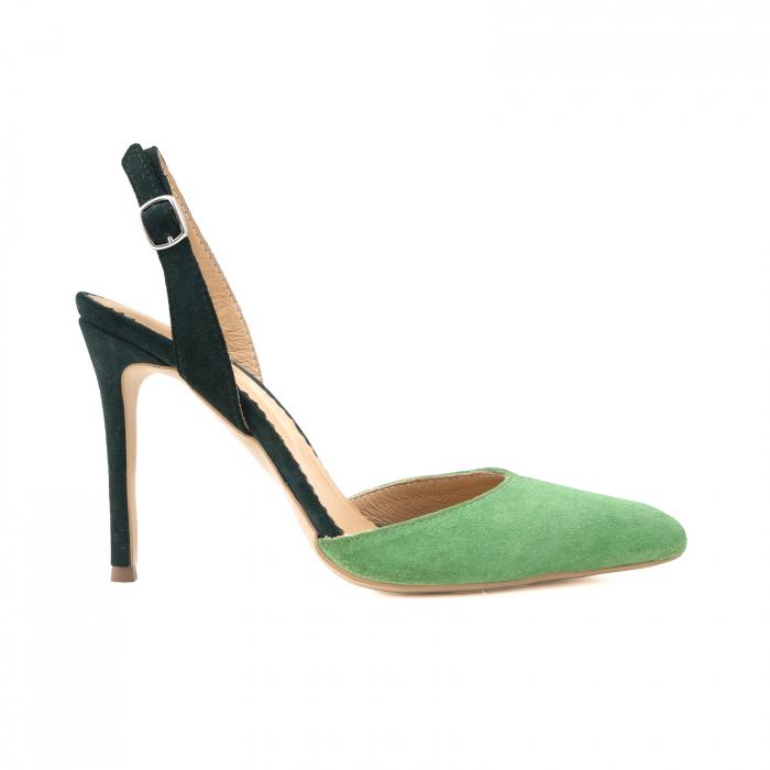 Pantofi stiletto decupati cu bareta de sustinere la calcai. Realizati dinpiele intoarsa verde deschis si verde inchis. [0]