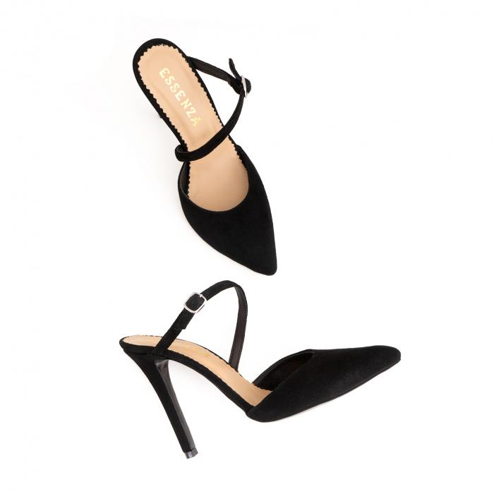 Pantofi stiletto decupati, cu bareta, din piele intoarsa neagra [4]