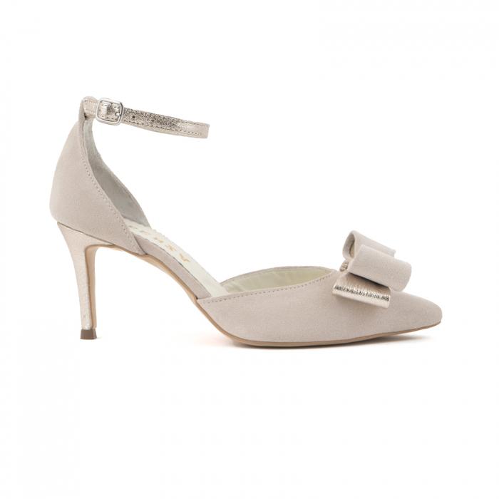Pantofi stiletto decupati, din piele intoarsa off white si piele laminata aurie. 0
