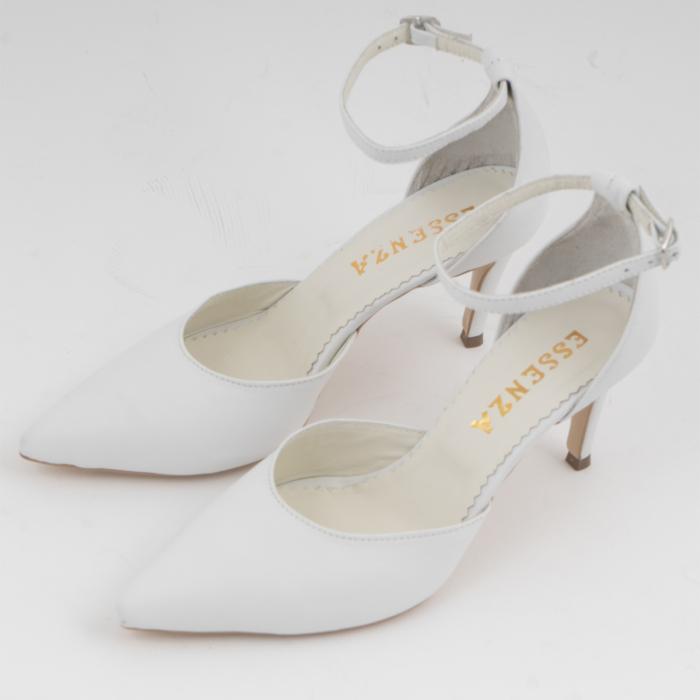 Pantofi stiletto decupati, din piele naturala alba 1
