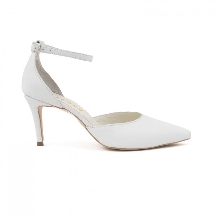 Pantofi stiletto decupati, din piele naturala alba 0