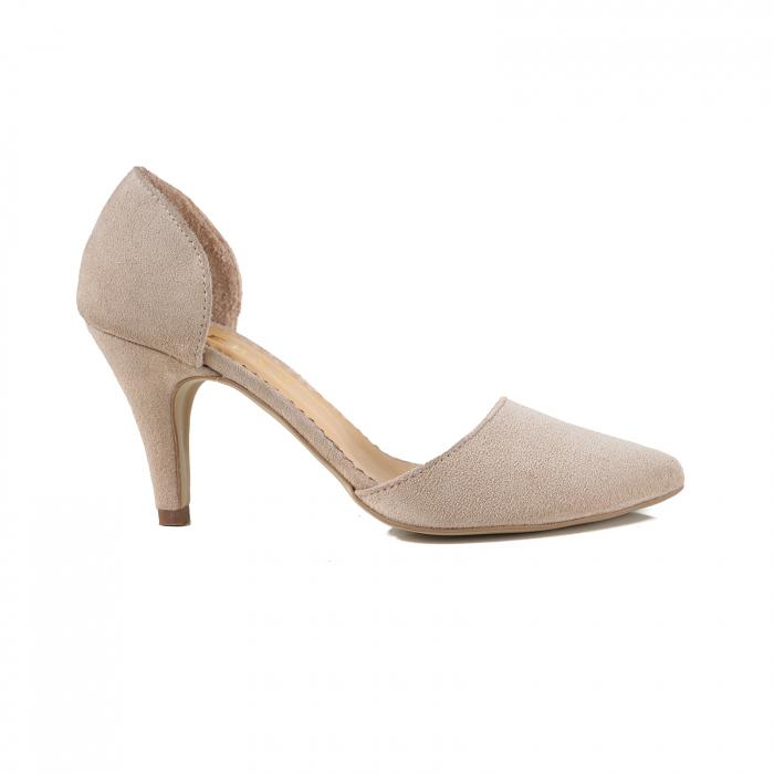 Pantofi stiletto decupati (interior/exterior),realizati din piele intoarsa beige [0]