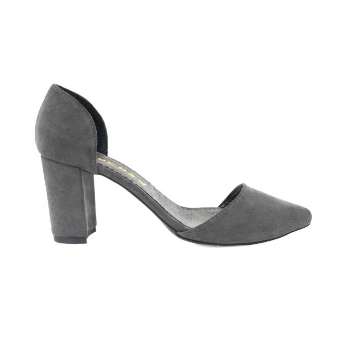 Pantofi stiletto decupati (interior/exterior),realizati din piele intoarsa gri 0