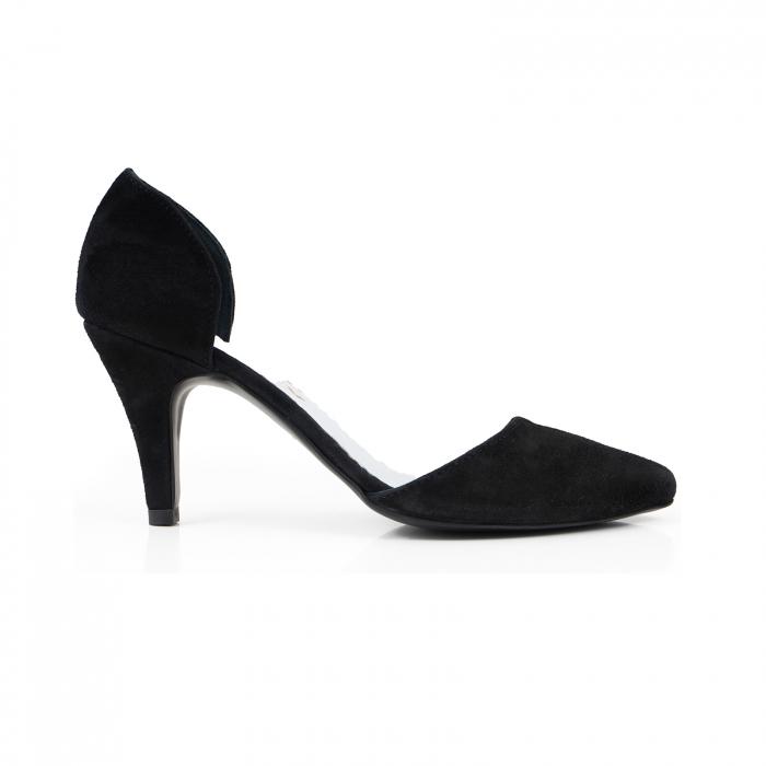 Pantofi stiletto decupati(interior/exterior), realizati din piele intoarsa neagra [0]