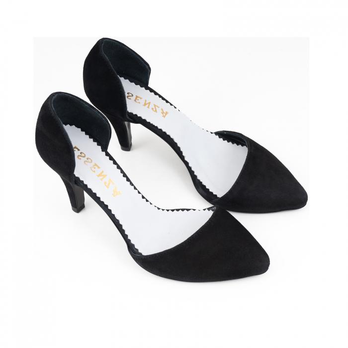 Pantofi stiletto decupati(interior/exterior), realizati din piele intoarsa neagra [2]