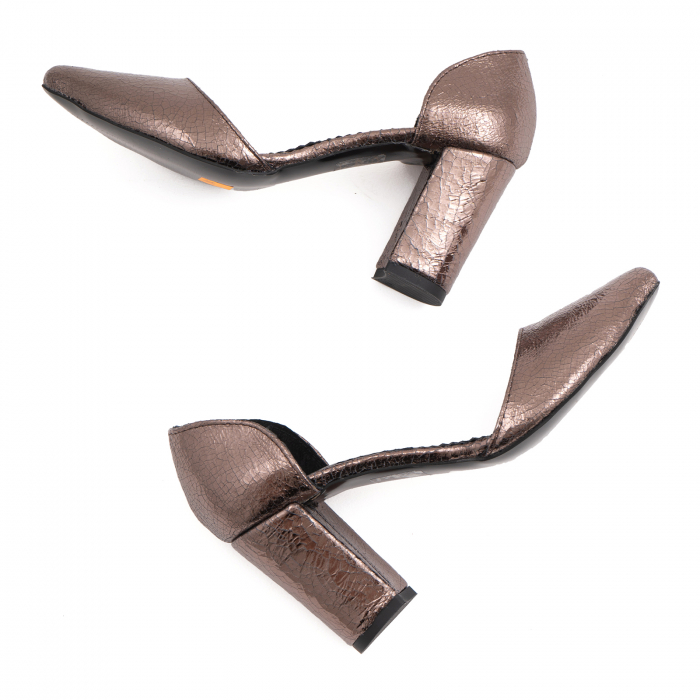Pantofi stiletto decupati (interior/exterior),realizati din piele laminata bronz crapat 2